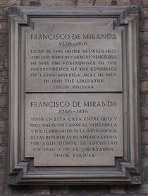 Francisco de Miranda stone plaque