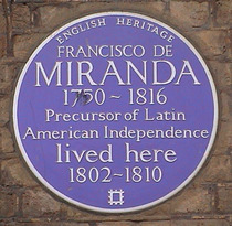 Francisco de Miranda blue plaque