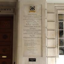 Carpenters' Hall plaque - rebuilding