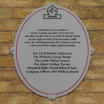 Wandsworth Fire Station - wall plaque