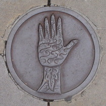 Bowler plaque - Decorated Hand