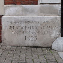 Islington war memorial arch - foundation stone at the left
