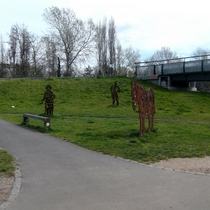 King, Pankhurst and Towpath Horse - steel statues