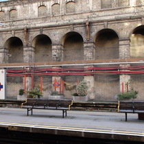 Boundary markers at Barbican Station