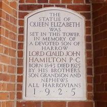 Elizabeth I statue - Harrow - Hamilton plaque