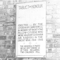 Burgess Park WW1 plaque - lost