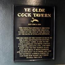 Old Cock Tavern - Fleet Street - lost plaque