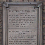 Francisco de Miranda stone plaque
