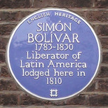 Simon Bolivar - blue plaque