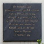 Guy's War Memorial plaque