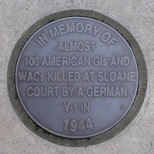 Sloane Court East bomb - pavement plaque