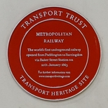 First underground railway - red plaque